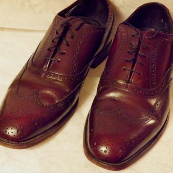 70s Vintage Mens Hanover Oxblood Wing Tip Mens Brogue Shoes  8 E C