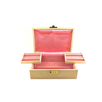 Cream And Pink Satin And Velvet Jewelry Box / Vintage Jewelry Box