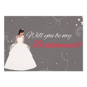 "Will you be my bridesmaid card white fancy dress 3.5"" x 5"" invitation card"