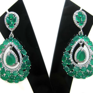 White Rhodium Plated 925 Sterling Silver Earring setted Green Onyx Gemstone Cabochons & Cubic Zircona Jewelry Beautiful wedding Gift for her