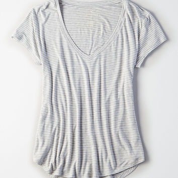 AEO Soft & Sexy V-Neck Favorite T-Shirt, Gray