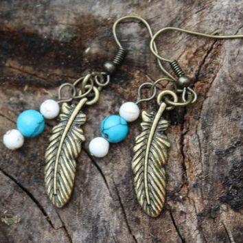 Gold Feather Earrings- Small Feather Charm, Beaded Turquoise and Gold Feather Earrings, Gold Toned Feather Earrings, Gold Earrings, Beaded