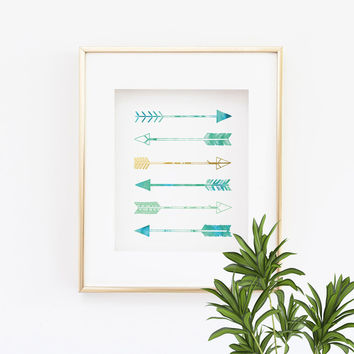 Arrows Print - Green, Blue and Gold Arrows wall art -  Faux Gold Foil Print  - 5x7, 8x10, 11x14, 12x16, 13x19,  teal and gold Seafoam Green