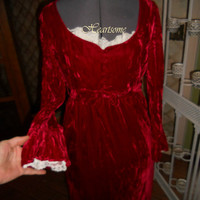 Red velvet Regency dress gown ensemble shawl  costume Jane Austen Victorian Christmas