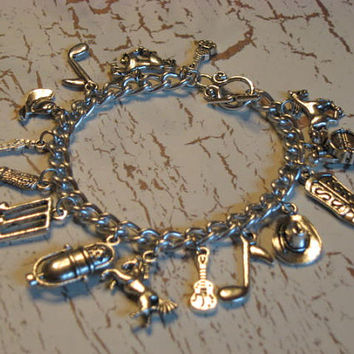 Country and Western Music Lovers Tibetan Silver Charm Bracelet