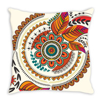 Autumn mandala throw pillow case