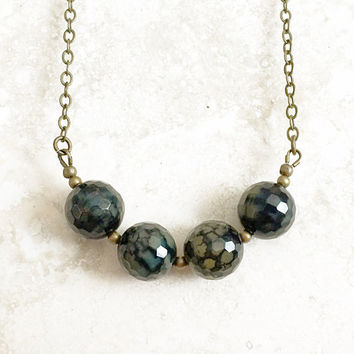 Agate Stone Necklace - Moss Green Agate Jewelry - Round Faceted Necklace - Statement Necklace