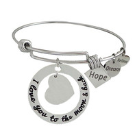 Stainless Steel Expandable Charm Bangle Bracelet I Love You to the Moon and Back Blank for Engraving