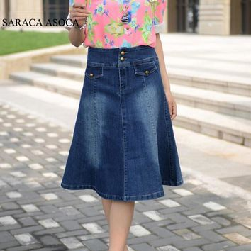 Spring Plus Size S to 6XL Pockets Jeans Pleated Skirts Women Fashion A-line Denim Skirts for Ladies