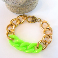 Chunky Gold Chain with Lime Green Neon Acrylic by LovetheColor
