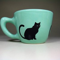 12oz cup black cat blue green Made to Order / by CircaCeramics