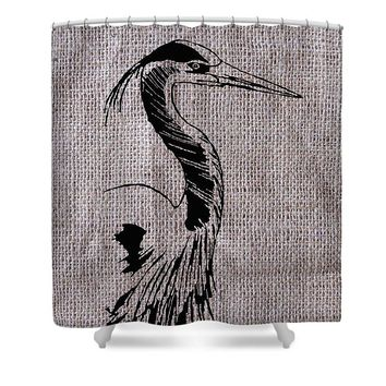 Heron On Burlap - Shower Curtain