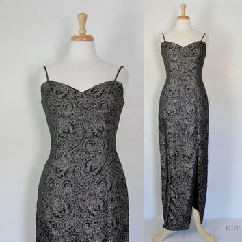 Vintage Bombshell Evening Dress / Black and Gold Column Dress / Prom Party Festive Cocktail