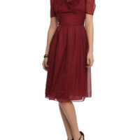 Hell Bunny Burgundy Cynthia Dress