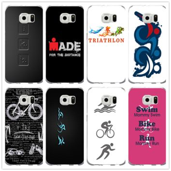 Silicone Soft Mobile Phone Cases for Samsung Galaxy S9 S8 Plus S7 S6 Edge S5 S4 S3 Mini S2 Cover Painted Ironman Triathlon Love