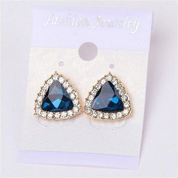 Geometric Rhinestone Police Awareness Stud Earrings
