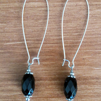 Cut Black Stone Earring