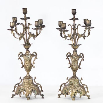 19.5'' Antique 19th Century French Candelabras Neo-Baroque Style Brass Candle Holders Candlesticks, Hollywood Regency Centerpiece