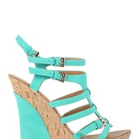 Open Toe Platform Wedge with Colored Heel
