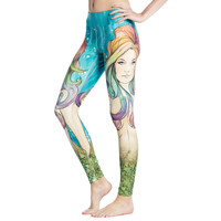 Hot 2016 new slim fit gym pants Lulu capris for women lemon cartoon seabed beauty printed solid sexy lady sports clothes JFK155