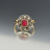 Natural Diamond and Ruby Paste Georgian Ring 1820s