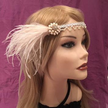 1920's Art Deco Style Ivory Rhinestone Flower Cream Ostrich Feather flapper Headband Head Piece rhinestone epoxy 1920's roaring 20s (654)