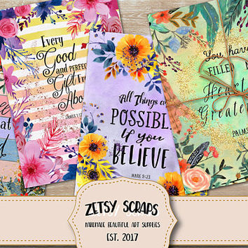 "Printable download ""BIBLE VERSES CARDS"" Glittery Hand Painted Scripture Art, four 8.5"" x 11"" size cards for gifting, collaging, greeting."