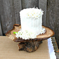 rustic wedding cake cupcake dessert stand natural wood live edge