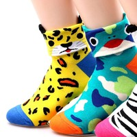 Leopard Shaped Cute Animal Short Cotton Socks for Women | DOTOLY
