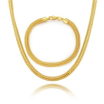 BRZHA Brand Men's Chain Necklace Set Fashion Gold color 6MM Fox Chain Necklace Bracelet Men's Jewelry