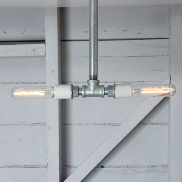 Pendant Pipe Light - Double Bare Bulb Lamp