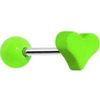 18 Gauge Green Neon Heart Cartilage Earring | Body Candy Body Jewelry