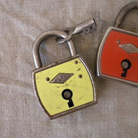 Vintage padlock with key retro decor by lapomme on Etsy