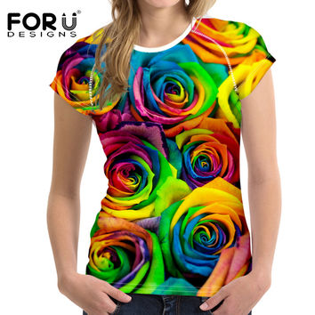 FORUDESIGNS 3D Bright Floral Rose T Shirt Women Pretty Brand Clothes Casual Tops Tees Blusa Plus Size Female O Neck T-shirt girl
