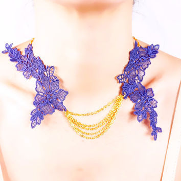 floral purple lace gold chain necklace -  flower bib pendant gift for her