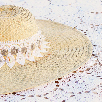 Ela Design Studio Pamela Lace White Beach Hat