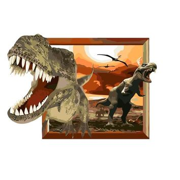 3D dinosaur cartoon painting Home Decor drawing by number picture By Numbers Hand work Canvas decoration living room Wall Art