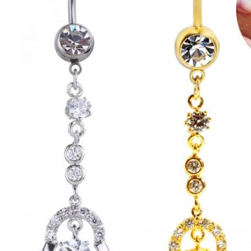 Simple design garland with zircon belly button ring antiallergic Navel Belly Ring-0429-Gifts box