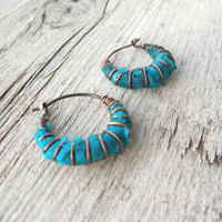Tiny Hoop Earrings, Bright Turquoise, Silk Wrapped, Hammered Copper