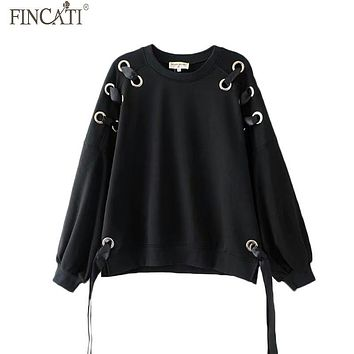 Women Autumn Black Hoodies Fincati 2017 New Arrival Long Sleeves Iron Hoop O-Neck Lace Up Fashion Winter Warm Tops Feminina