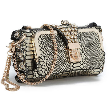 Fashion rhinestone cowhide clutch day one shoulder cross-body bag small crocodile pattern genuine leather clutch chain women's