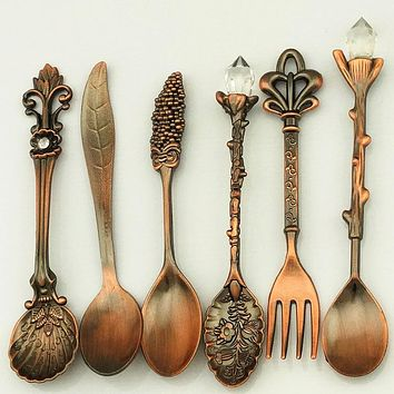6pcs/set Vintage Royal Style Bronze Carved Small Coffee Tools Tableware Cutlery Kitchen Dining Bar Tools