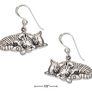 Sterling Silver Two Sleeping Kitty Cat Earrings On French Wires.