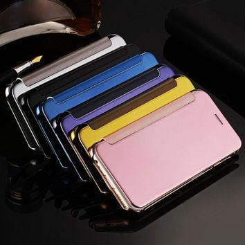 Luxury Flip PU Leather Case For iPhone 5 5S SE 6 6S / Plus W/ logo Window Clear Plastic Mirror Coque Mobile Phone PC Back Cover