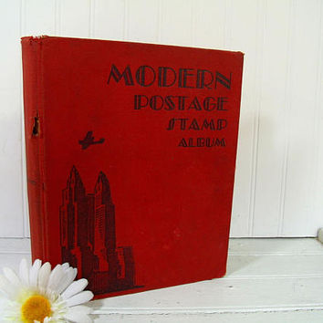 Modern Postage Stamp Album Large Well Worn Fully Illustrated Art Deco Book for Collecting Stamps Upcycling Repurpose Browned Paper Ephemera
