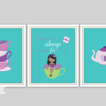 Tea Party Prints - There is always time for TEA quote, Girls Room Print, Tea Party Room Decor, Girls Wall Art, Nursery Wall Art, Playroom