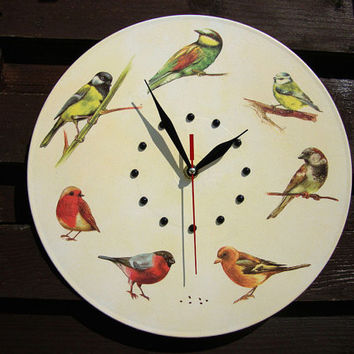 Wall Clock Birds, exclusive gift, kids wall clocks, unique wall clocks, unusual wall clocks, yellow wall clocks, decorative wall clocks
