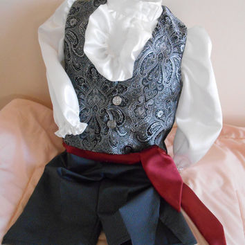 Pirate Costume, Circus RingMaster, Boy or Toddler Costume, Puffy Pirate Blouse, Washable play outfit, Birthday or Disney adventure, Handmade