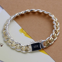 Inalis Classic Crystal Silver Plated Link Chain Men H091t