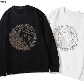 Versace fashion hot selling couples hot diamond medusa figure crew neck hoodie